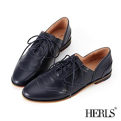 HERLS 全真皮 極簡側V口雕花牛津鞋-藍色