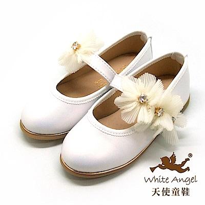 天使童鞋 優雅莉絲朵公主鞋(中-大童) JU8008-白