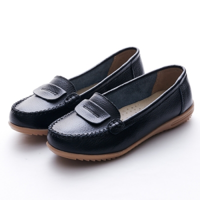 A one 牛皮莫卡辛反折縫線休閒鞋-黑色