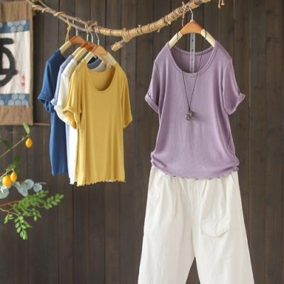 素色T恤顯瘦百搭韓版短袖上衣八色-設計所在