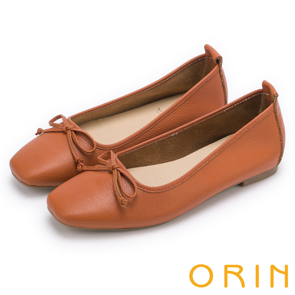 ORIN 氣質女孩 經典素面牛皮平底娃娃鞋-棕色
