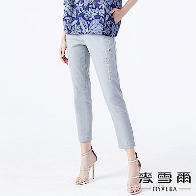 【麥雪爾】簡約十字繡線珠飾造型長褲-灰