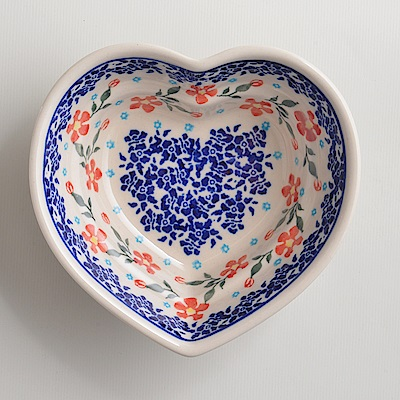 【波蘭陶 Zaklady】手工製 藍印紅花 愛心造型烤盤