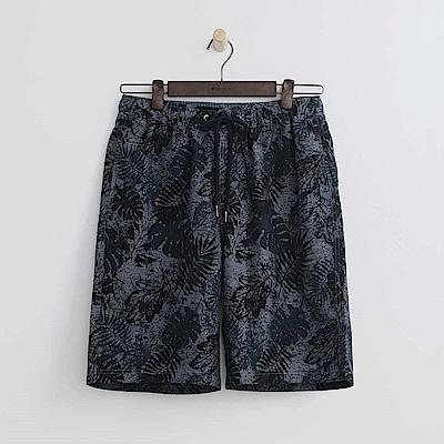 Hang Ten - 男裝 - 打褶印花休閒短褲-深藍色