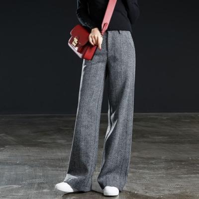 La Belleza後鬆緊腰單釦側口袋人字紋毛料闊腿長褲