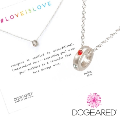 Dogeared love is love 彩虹水晶迷你圓圈項鍊 銀色 愛最大 附原廠盒