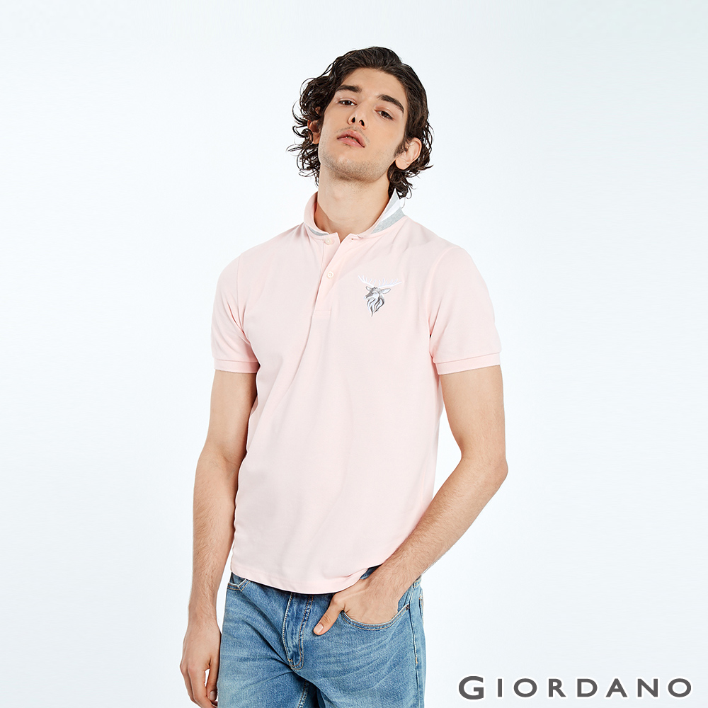 GIORDANO 男裝麋鹿漸層刺繡短袖POLO衫-29 草莓粉紅