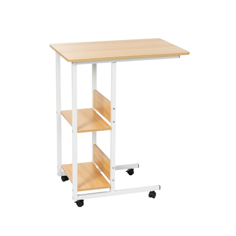 樂嫚妮 多功能電腦桌/床邊桌/儲物邊桌-附層板收納-胡桃色-寬60X深40X高75cm