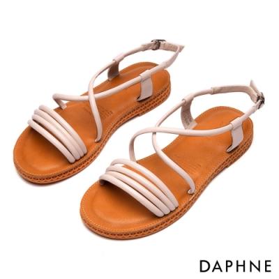 達芙妮DAPHNE 涼鞋-純色條帶繞踝縷空平底涼鞋-白