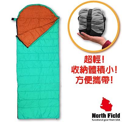 美國 North Field 丸洗 15℃超輕全開式信封型化纖睡袋_蒂芬尼藍/橘