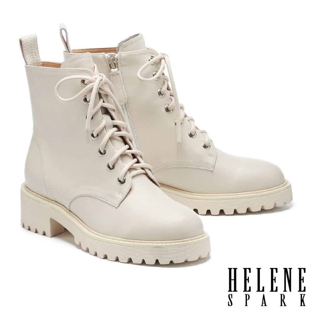 短靴 HELENE SPARK 簡約率性態度全真皮綁帶厚底短靴-米