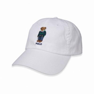 Polo Ralph Lauren 經典刺繡Polo熊可調式鴨舌帽-白色