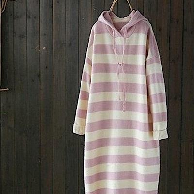 寬鬆拼色連帽中長版毛衣針織衫洋裝-設計所在