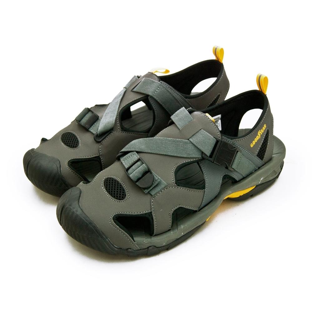 GOODYEAR 固特異 專業戶外踏青旅遊護趾織帶運動涼鞋 灰黑 93658