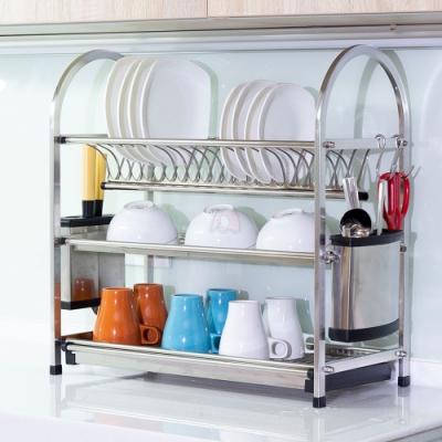 百鈴 高品質不鏽鋼三層碗盤收納瀝水架