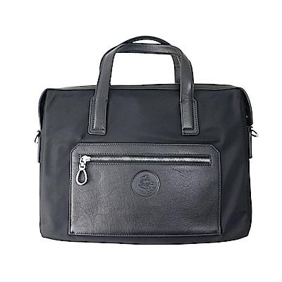 SINA COVA老船長提花牛皮側背手提包-SC61805黑色