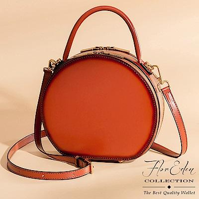 DF Flor Eden - 英倫風復古俏麗圓型牛皮手提斜背包