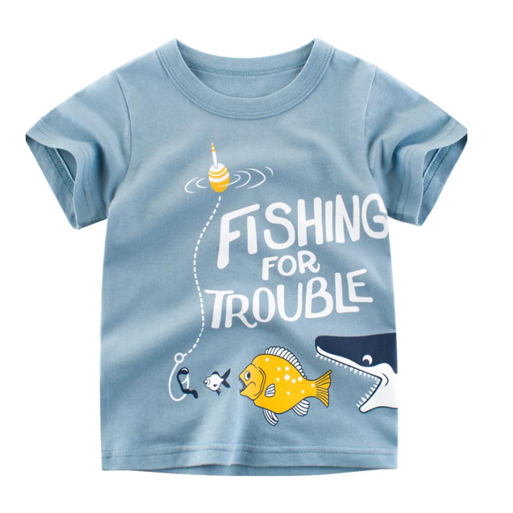 男童 中小童 歐美風格舒柔棉短袖T恤-釣魚趣