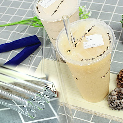 Incare 手搖杯專用斜口環保玻璃吸管(6件優惠組/加長型)