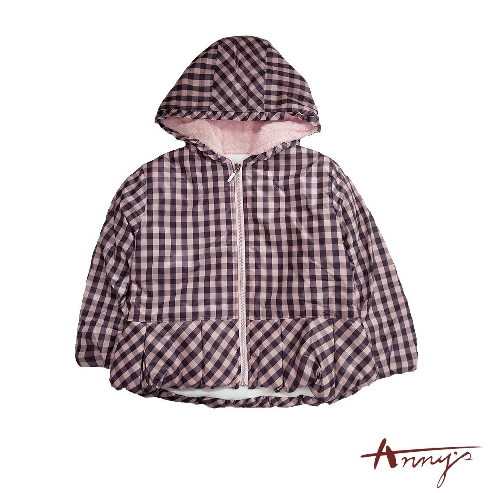 Annys方格紋防風連帽鋪棉外套*1460粉紅