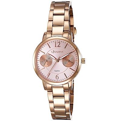 LICORNE 力抗錶 花漾時光雙眼手錶-玫瑰金x粉紅/30mm