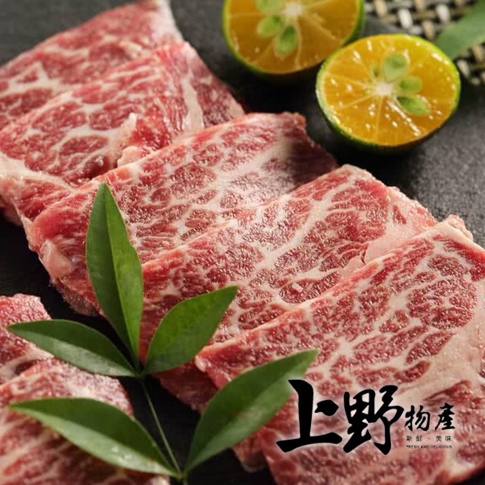 (滿額優惠)上野物產-美國極黑和牛SRF翼板燒肉片 x3盒組(100g/盒)