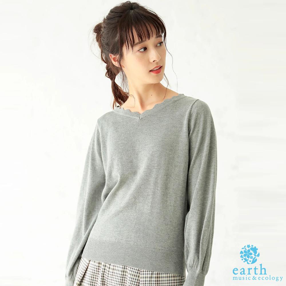 earth music 扇形V領剪裁蓬袖針織上衣