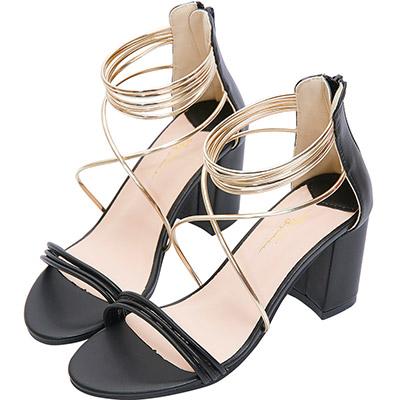AIR SPACE 時尚金屬細條粗高跟涼鞋(黑)