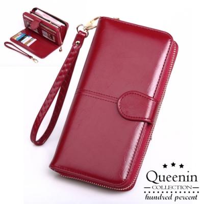 DF Queenin皮夾 - 熱銷皮質感多功能手機包長夾