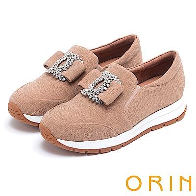 ORIN 時尚渡假風 白鑽飾釦厚底休閒鞋-粉膚