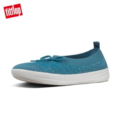 FitFlop ÜBERKNIT BOW BALLERINAS 休閒娃娃鞋 藍綠色