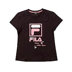 FILA KIDS 童短袖純棉圓領上衣-黑色 5TET-4912-BK