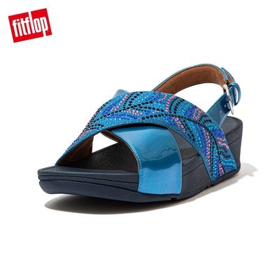 FitFlop LULU CRYSTAL FEATHER BACK STRAP SANDALS 水鑽後帶涼鞋 女(海藍色)