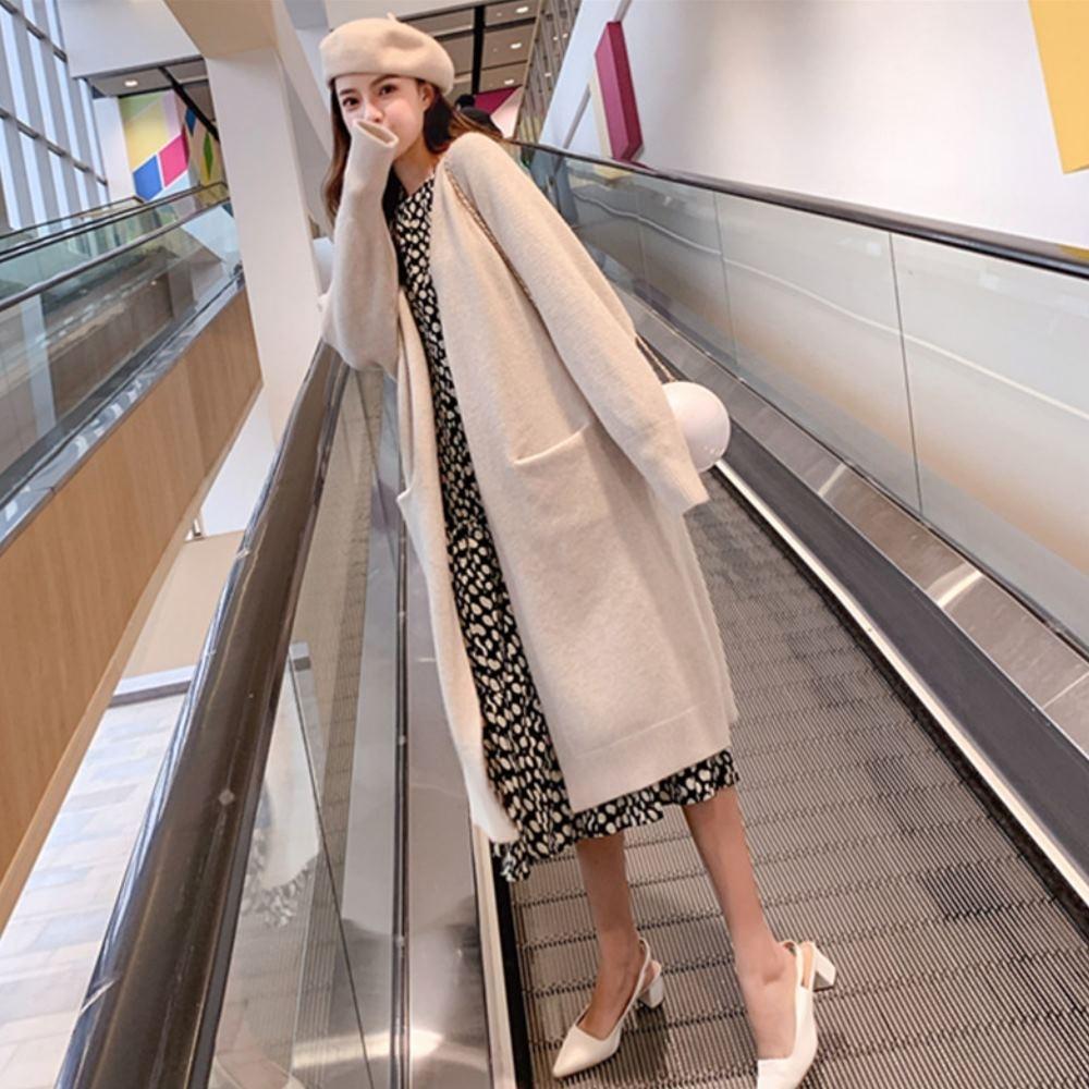 La Belleza素面厚料超長版開衫過膝束袖雙口袋針織毛衣外套