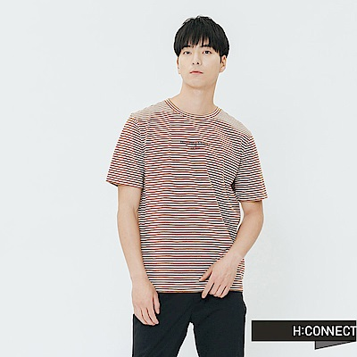 H:CONNECT 韓國品牌 男裝-細條紋圓領印字T-shirt-棕