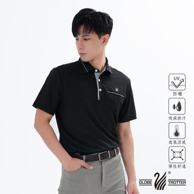 【遊遍天下】男款格紋抗UV吸濕排汗POLO衫GS1012黑色