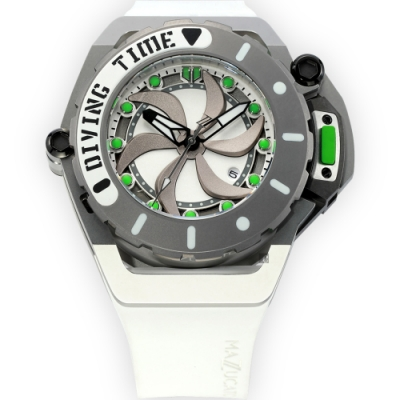 Mazzucato RIM SCUBA 雙時區潛水翻轉機械錶(SUB07)-白綠色/48mm