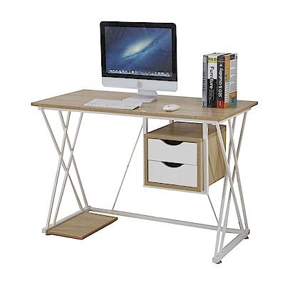 文創集 卡特時尚3.7尺雙色書桌/電腦桌-110x55x75cm免組