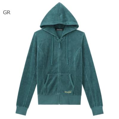 aimerfeel 素色絲絨運動服連帽上衣-綠色-840274-GR