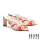 拖鞋 HELENE SPARK 繽紛夏日晶鑽花布美型高跟拖鞋-桔 product thumbnail 1
