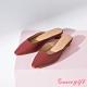 Grace gift-素面方口圓跟穆勒鞋 紅咖 product thumbnail 1
