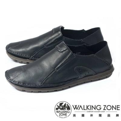 WALKING ZONE 英倫真皮後跟可踩鞋男鞋-黑(另有咖、棕)