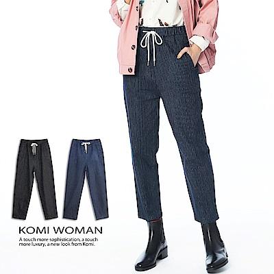 【KOMI】丹寧條紋鬆緊綁帶牛仔褲