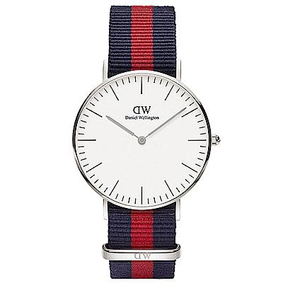 DW手錶 官方旗艦店 36mm銀框 Classic 經典藍紅尼龍帆布手錶
