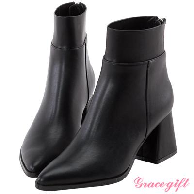Grace gift X Kerina妞妞-彈性拼接後拉鍊尖頭短靴 黑