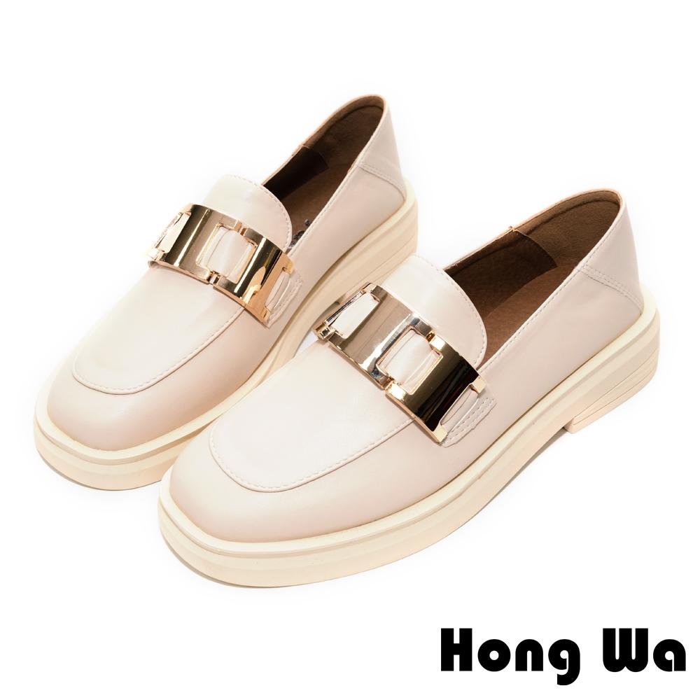 Hong Wa 時尚設計‧質感牛紋皮飾扣厚底樂福鞋 - 米白