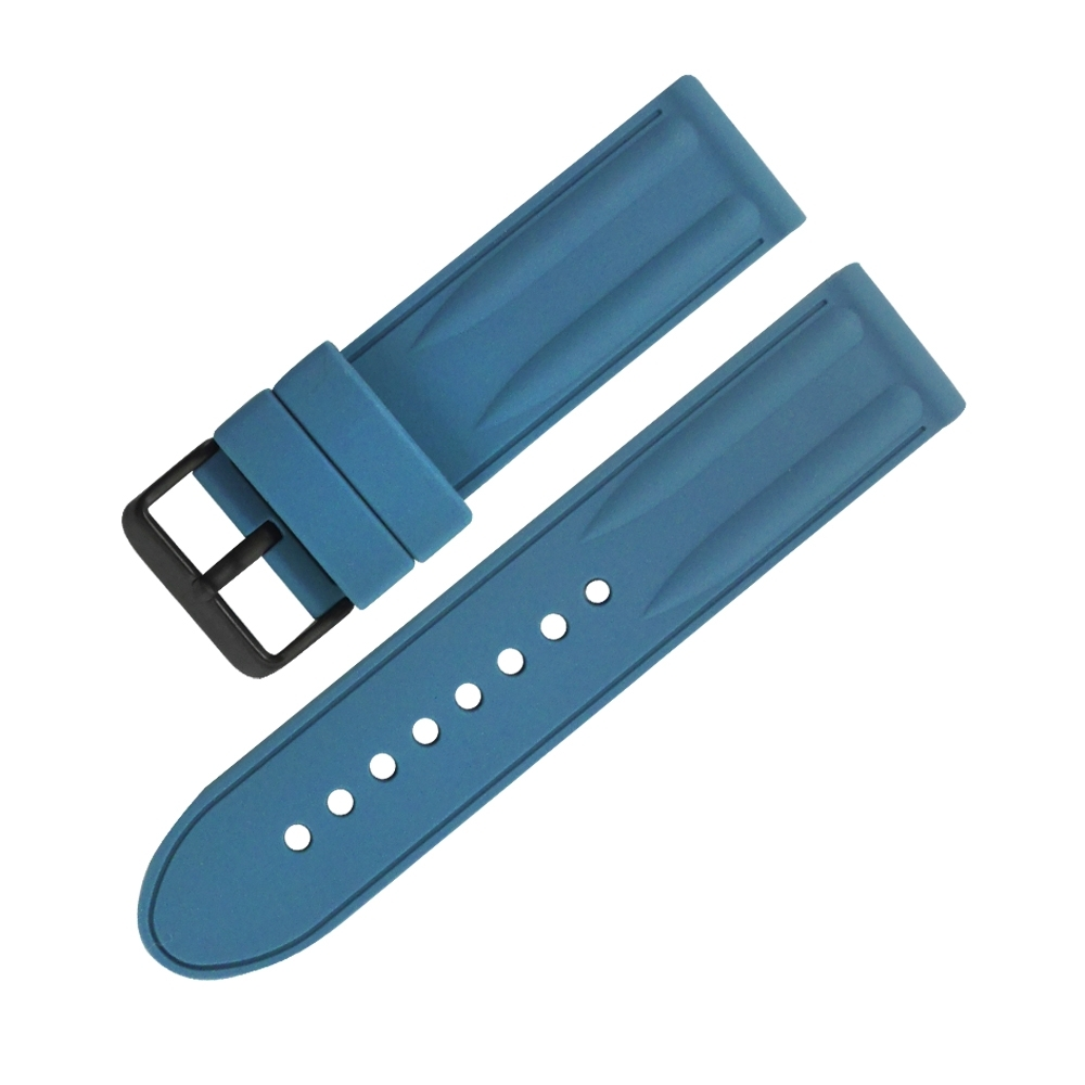elegantsis / 24mm / 各品牌通用 厚實耐用 運動型 原廠矽膠錶帶-藍色