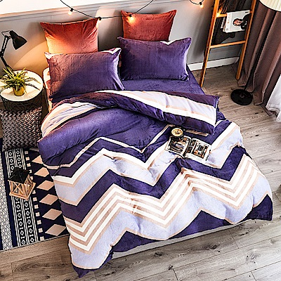 A-ONE法蘭絨 加厚兩用被毯雙人加大床包四件組 海韻(獨家花色)