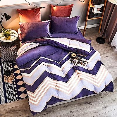 A-ONE法蘭絨 加厚兩用被毯雙人床包四件組 海韻(獨家花色)