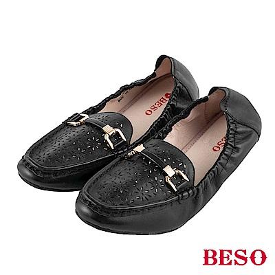 BESO 花漾青春 鬆緊帶莫卡辛鞋~黑